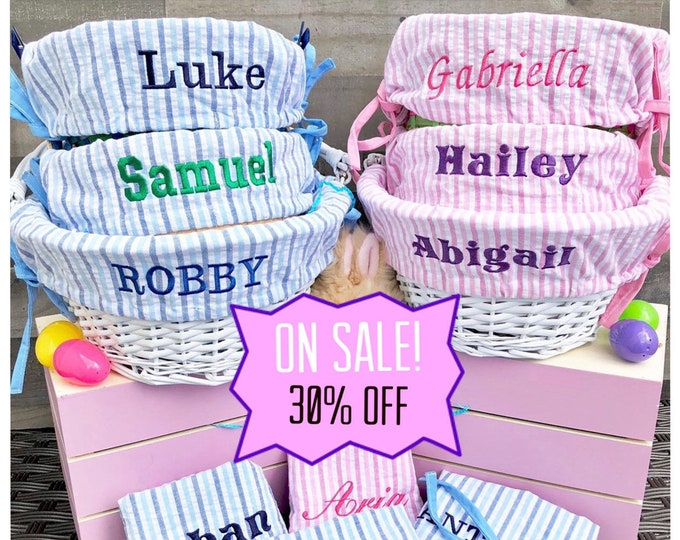 Easter Basket liner - Embroidered with name - Easter Basket Cover - Large