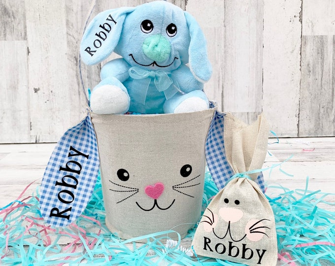 Easter Bunny Basket Set with Name- Personalized Set with name - Easter Bunny - Easter Treat Bag with Name