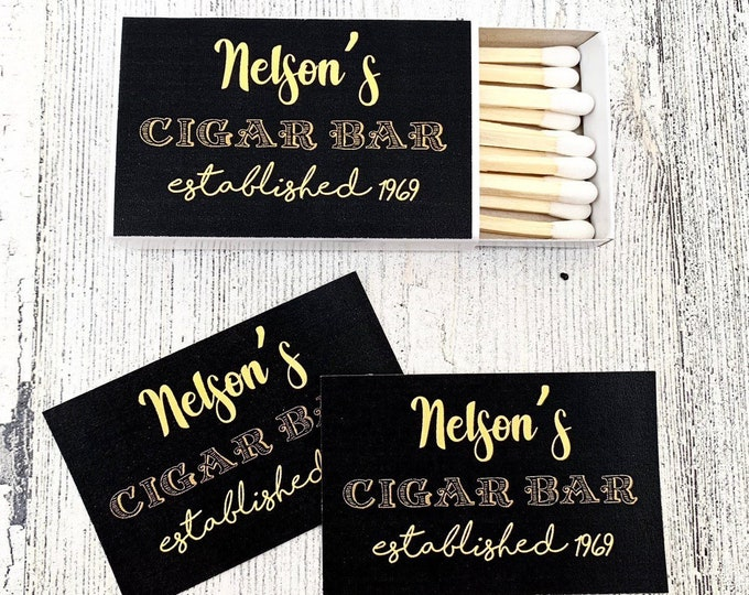 Matches Favor Labels - Black and Gold Matchbox Favors - Birthday Matchbox Favors - Customizable