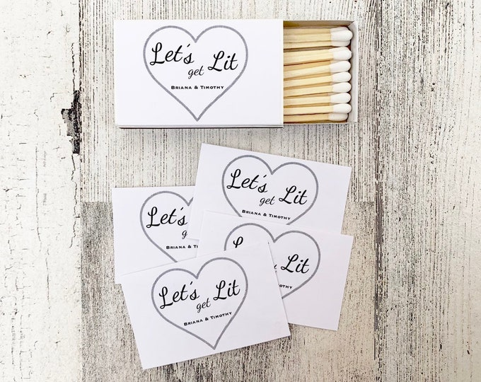 Matches Favor Labels - White Matchbox Favors - Let's Get Lit - The Perfect Match - Match Made in Heaven - Match wedding or shower favors