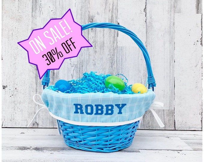 Easter Basket liner - Embroidered with name - Easter Basket Cover - Fits Large Basket - Adjustable Band