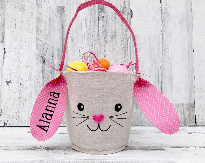 Easter Bunny Basket with Name- Personalized Basket with name - Easter Bunny with Ears