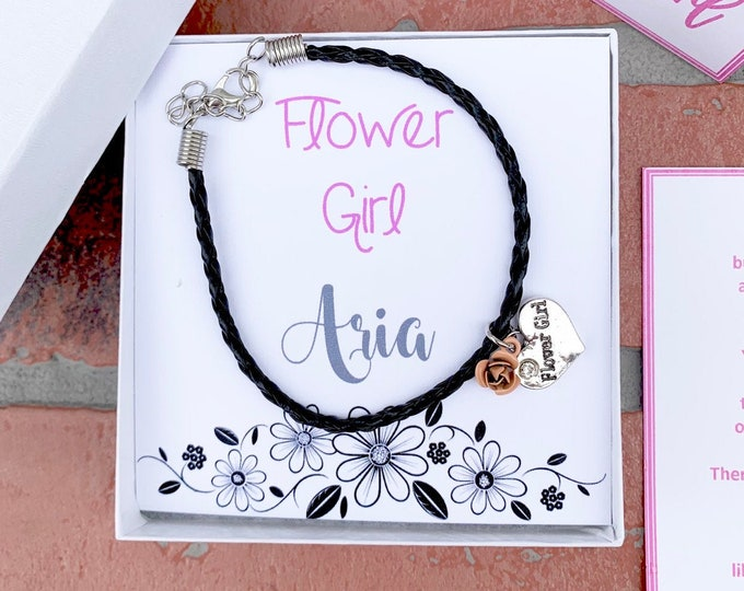 Flower Girl Bracelet - Personalized Flower Girl Gift Proposal - Will you be my Flower Girl - Gift Box
