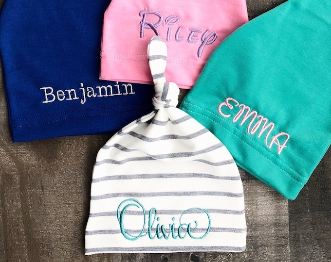 Baby Hat Beanie available in 8 colors - Embroidered Baby Name on Hat