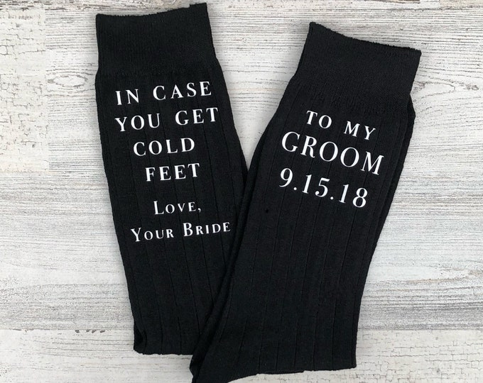 Sole Mates - Babe, In Case You Get Cold Feet Customizable Socks for the Wedding Day - Groom Gift from Bride - Funny Groom Gift