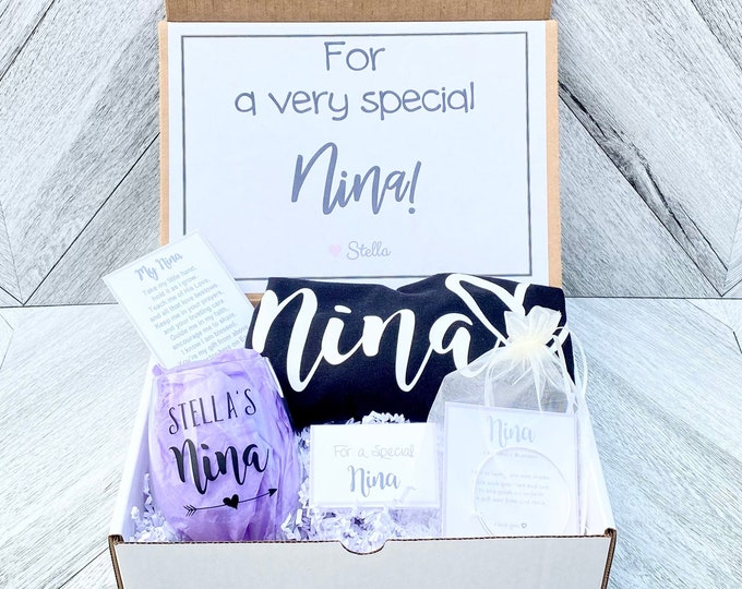 Nina Gift - Nina Special Gift Box - Nina Tank and Wine Glass Gift Box - Personalized Nina Gift - Will you be My Nina Box