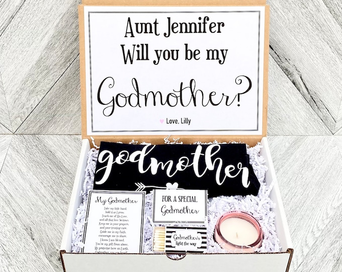 Godmother Gift - Godmother Box - Godmother Proposal - Personalized Godmother Gift - Will you be My Godmother Box
