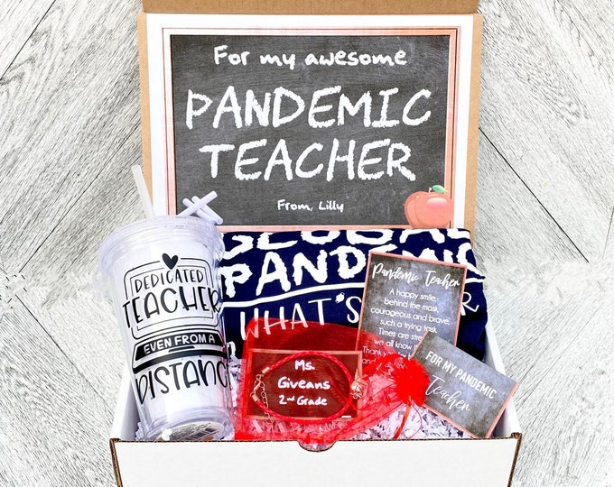 Pandemic Teacher gift Box - Personalized Teacher Gift Box - Quarantine Teacher Gift Set with Shirt, Teacher Tumbler, and/or Bracelet