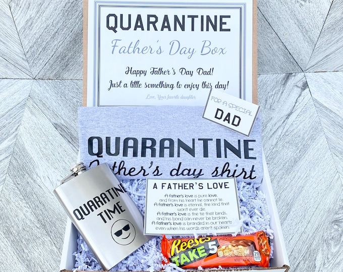 Father's Day Gift Box Set Quarantine - Shirt, Flask, Candy and Cards - Pre Packaged Fathers Day Gift Ships to Dad!