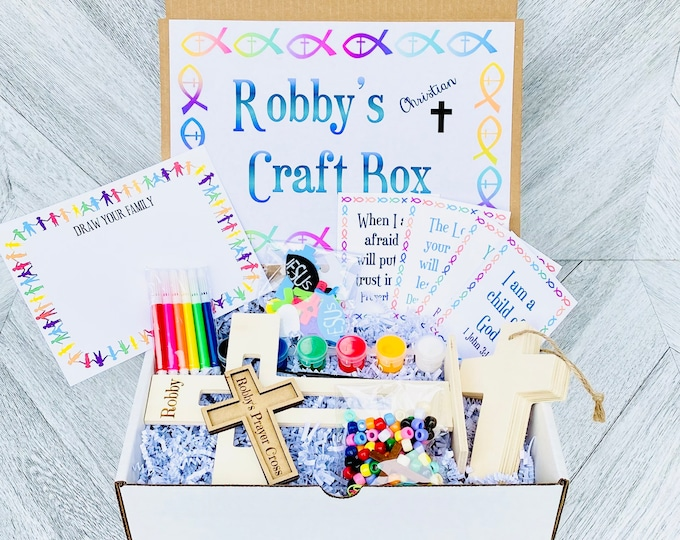 Jesus Kid's Craft Box - Christian Crafts for Kids - Paint Crosses, Cross Necklace, Prayer Cards