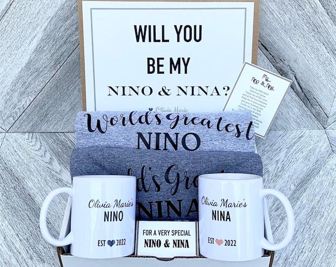 Nino and Nina Gift Set - Personalized Shirts and Mugs - Will you be My Nino and Nina Box