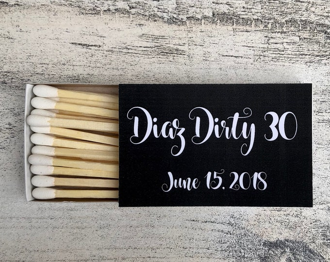 Matches Favors - Black and White Matchbox Favors - Birthday Matchbox Favors - Customizable