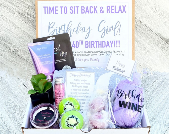 Spa Birthday Gift Set - HELLO 40 Spa gift box with Birthday Girl Tank - Birthday Wine - Complete Spa Items - Succulent and Candle