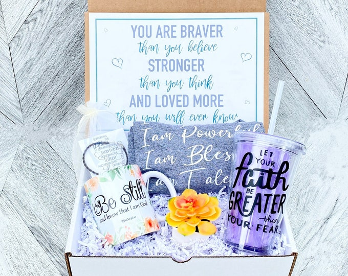 Cancer Survivor Gift Box - Personalized Get Well Soon Box - Faith Box -  Fearfully and Wonderfully Made - Feel Better Box - Faith Hope Love