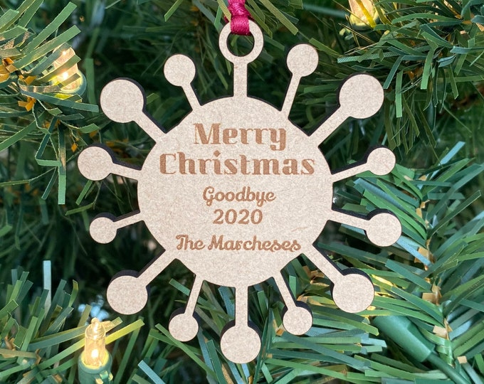 Christmas 2020 Ornament - Goodbye 2020 - Family Name Engraved Wood Ornament - Pandemic Ornament