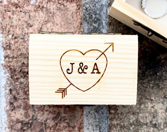 Engraved Wooden Ring Box - Ring Bearer Box - Wedding keepsake - Wooden Ring Box with initials