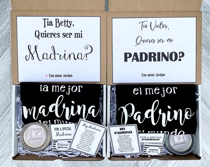 Padrinos Boxes - Set of 2 Boxes - Personalized Padrinos Proposal Gift - Will you be My Madrina and Padrino Box