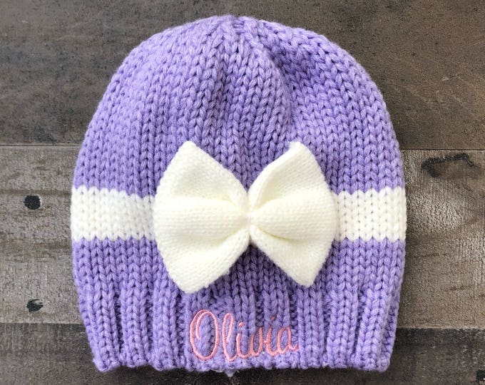 Bow Knitted Embroidered Baby Girls Beanie Hat available in 6 colors