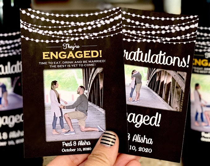 Set of 2 Engaged Wine Labels - 2 Engagement Gift Wine Labels with Personalization and Photo