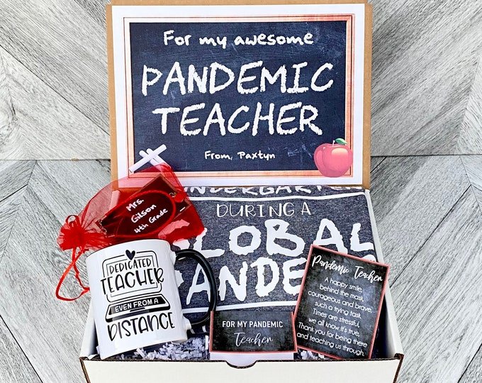 Pandemic Teacher gift Box - Personalized Teacher Gift Box - Quarantine Teacher Gift Set with Shirt, Teacher Mug, and/or Bracelet