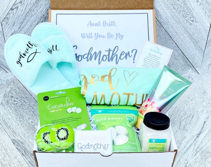Godmother Box - Personalized Godmother Gift - Will you be My Godmother Box - Godmother Tank, Slippers, and Spa Items