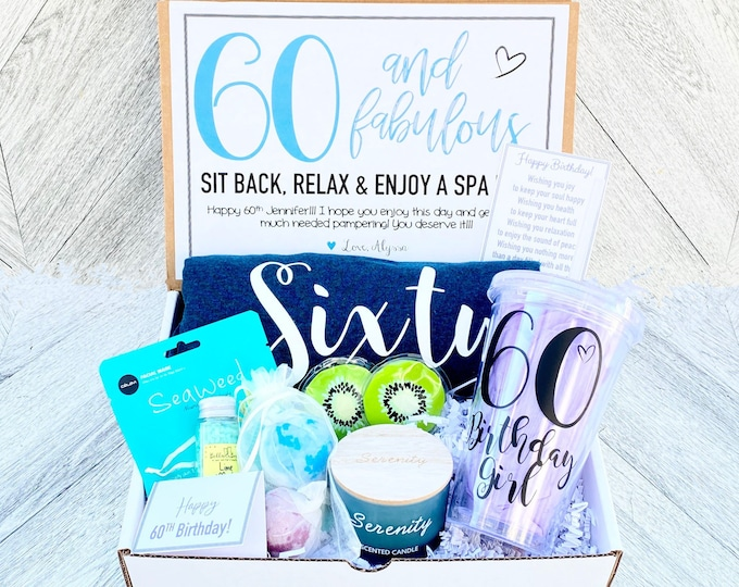 Spa Birthday Gift Set - Sixty and Fabulous Spa Set with Birthday Shirt - Birthday Tumbler - Complete Spa Set- Cards and Candle