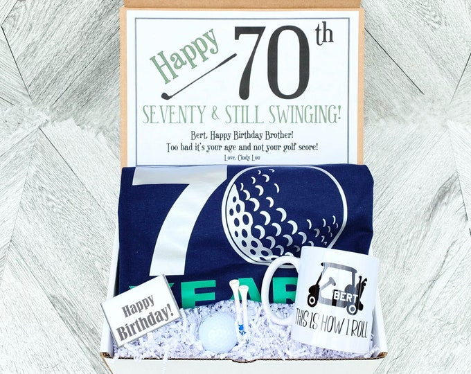70 Golf Birthday Gift - This is how I Roll - Seventy and still Swinging - Golf Cart Mug with name - Golf Shirt - Golf Ball and tees