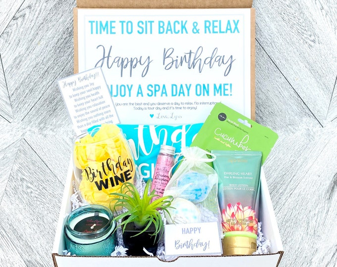 Spa Birthday Gift Set - Spa gift box with Birthday Girl Tank - Wine glass or Tumbler - Complete Spa Items - Succulent and Candle