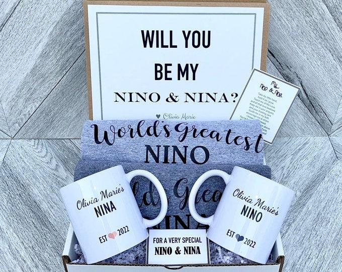 Nino and Nina Gift Box - Personalized Shirts and Mugs - Will you be My Nino and Nina Box