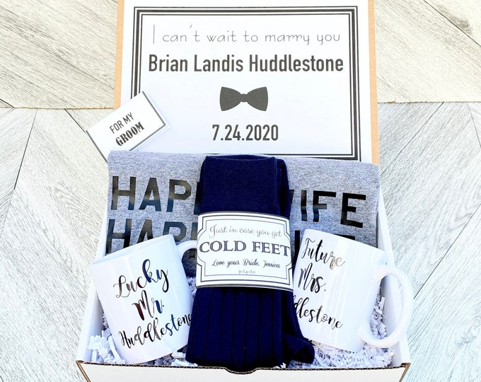 Groom Gift Box - Personalized Groom Box - In Case you Get Cold Feet - Bride AND Groom Mug Set - Happy Wife Happy Life Groom Shirt
