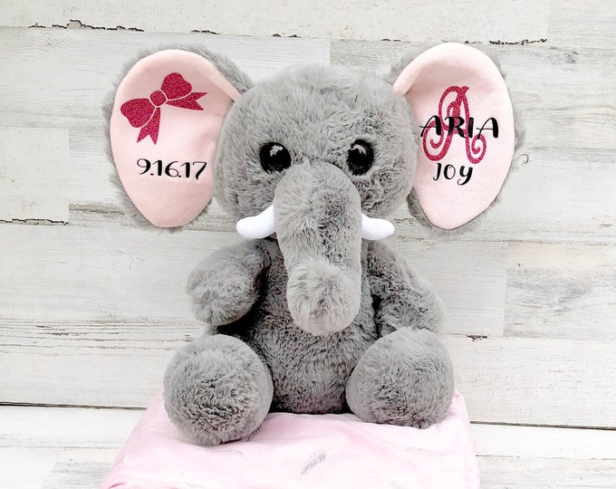 Elephant Baby Gift for New Baby with Name and Birthday- Large Stuffed Animal Elephant with Baby Statistics