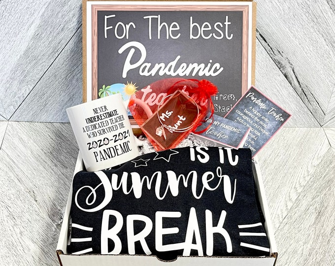 Pandemic Teacher gift Box - Personalized Summer Teacher Gift - Quarantine Teacher Gift Set with Shirt, Mug, and/or Bracelet
