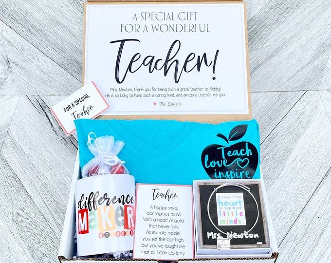 Teacher gift Box - Personalized Teacher Gift - Teacher Gift Set with Shirt, Teacher Mug, Candy, and Bracelet