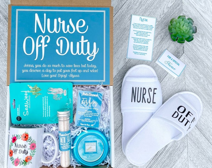 Nurse Appreciation Gift - Nurse Off Duty - Nurse Gift Box- Nurse Gift Set with Spa Items, mug, slippers and a special Poem Card