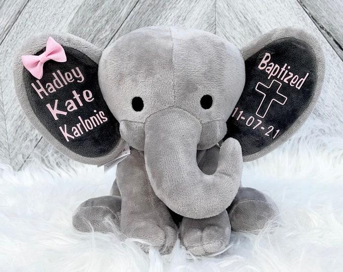 Baptism Gift Baby Elephant for New Baby - Stuffed Animal Elephant with Baby Baptism Date