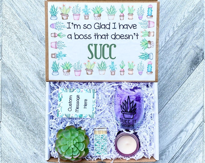 Succulent Gift Box - I'm Glad I have a Boss that Doesn't Succ - Succulent Gift Set - Wine Glass or Flask - Candle and matches