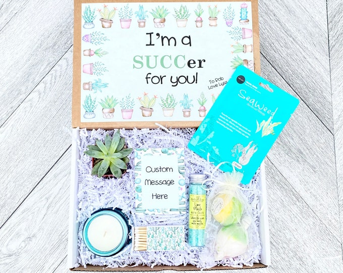 Succulent Gift Box - I'm a SUCCer for you - Succulent Gift Spa Set - Bath Salts - Bath Bombs - Candle and matches