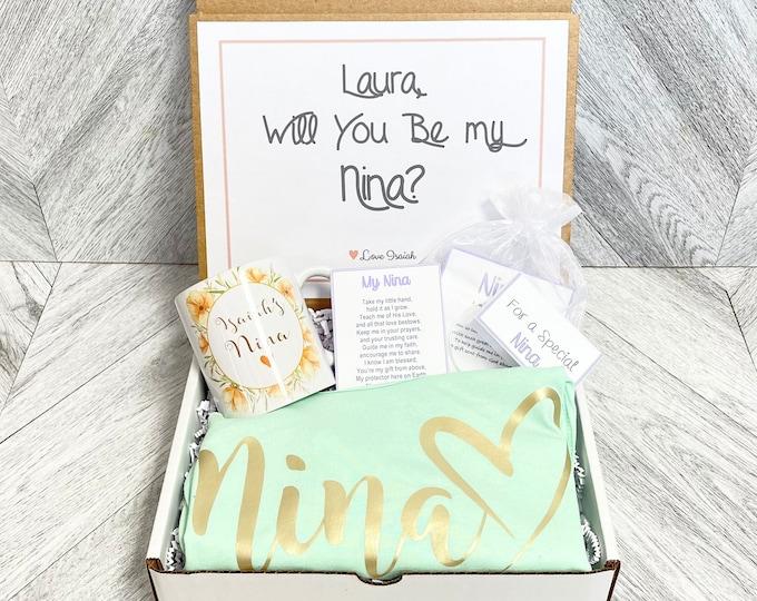 Nina Gift - Nina Proposal Box - Nina Tank and Mug Gift Box - Personalized Nina Gift - Will you be My Nina Box