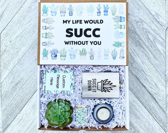 Succulent Gift Box - My Life would Succ Without You- Succulent Gift Box - Wine Glass or Flask - Candle and matches