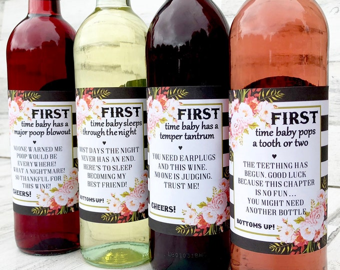 Baby Shower Wine labels - First Time Labels - Funny and Practical Baby Shower Gift for the Wine loving Mom