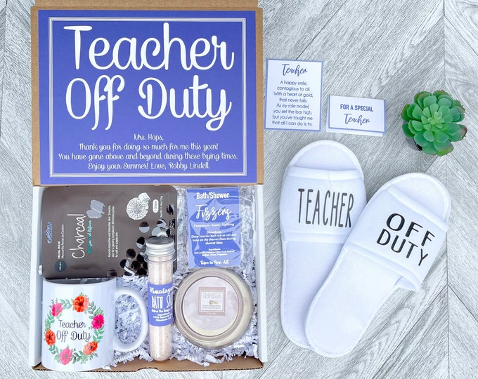 Teacher Appreciation Gift Set - Teacher Off Duty - Teacher Gift Box Set with Spa Items, Teacher Mug, Candle, Succulent, Slippers
