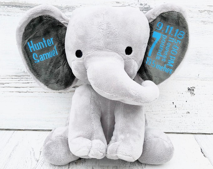 Elephant Baby Stats Gift for New Baby - Stuffed Animal Elephant with Baby Statistics