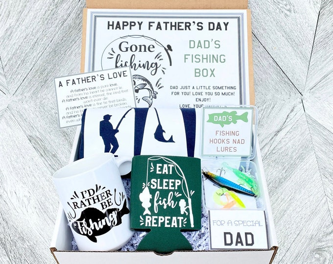 Father's Day Fishing Gift Box Set - Shirt, Mug, Fishing Gear, Drink Koozie and Cards - As Shown - Pre Packaged Father's Day Gift