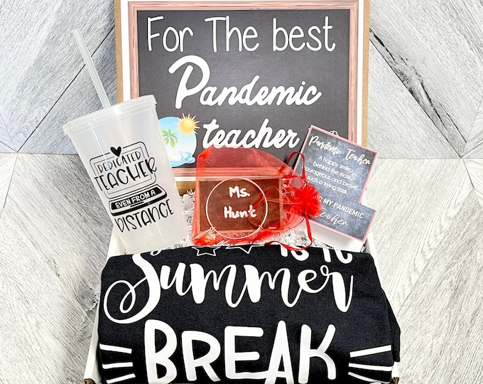 Pandemic Teacher gift Box - Personalized Summer Teacher Gift - Quarantine Teacher Gift Set with Shirt, Tumbler, and/or Bracelet - Remote