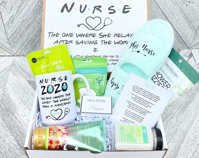Nurse Spa Gift Set - Nurse is off Duty Gift Box - Gift box for nurses with Slippers, mug, spa items and a special Poem Card