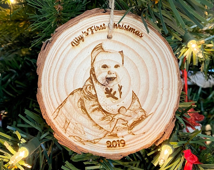 Personalized Wood Engraved Photo Ornament - Wood Etched - Laser Photo Ornament - Baby's First Christmas