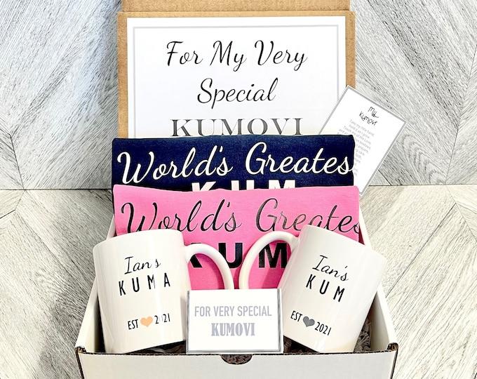 Kum and Kuma Gift Box - Personalized Shirts and Mugs - Will you be My Kumovi Box