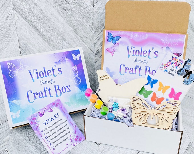 Butterfly Craft Box - Name Engraved Personalized Butterfly - DIY Butterflies - Paint Butterfly Kit