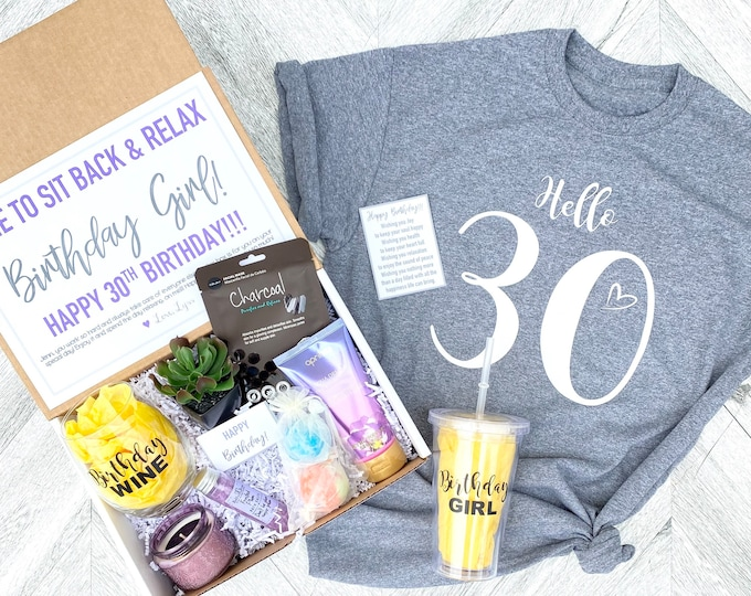 Spa Birthday Gift Set - HELLO 30 Spa gift box with Birthday Girl Tank - Wine glass or Tumbler - Complete Spa Items - Succulent and Candle