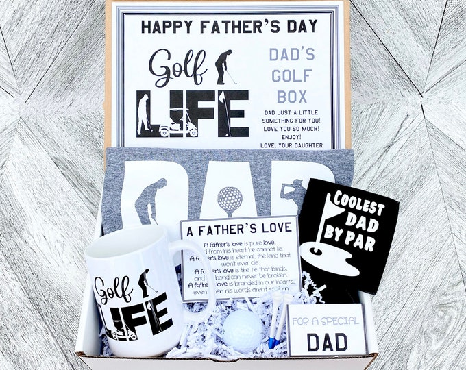 Father's Day Golf Gift Box Set - Shirt, Mug, Golf Set, Drink Koozie and Cards - As Shown - Pre Packaged Father's Day Gift
